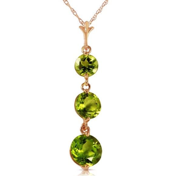 Galaxy Gold Products Jewelry - 14K. SOLID GOLD NECKLACE WITH NATURAL PERIDOTS